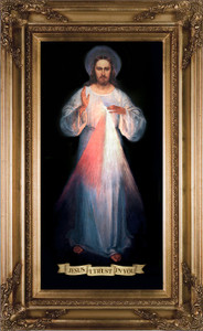 Divine Mercy Vilnius Original Canvas - Gold Museum Framed Art