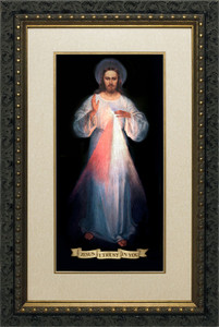 Divine Mercy Vilnius Original Matted - Ornate Dark Framed Art
