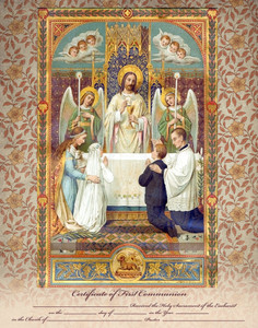 Traditional First Communion Sacrament Certificate with Angels Unframed