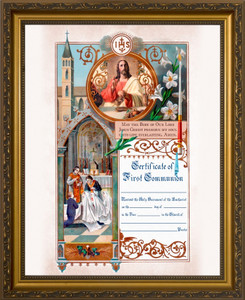 Traditional First Communion Sacrament Certificate with Priests in Gold Frame