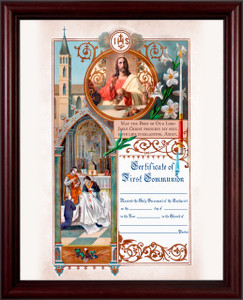 Traditional First Communion Sacrament Certificate with Priests in Cherry Frame