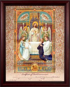 Traditional First Communion Sacrament Certificate with Angels in Cherry Frame