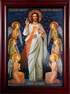 King of Divine Mercy Canvas Cherry Framed Art
