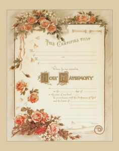 Traditional Marriage Sacrament Certificate with Roses Unframed