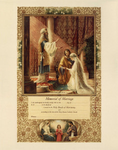 Traditional Wedding of Joseph and Mary Marriage Sacrament Certificate Unframed