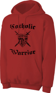 Catholic Warrior Defender of the Faith Hoodie Basic Red and Blue
