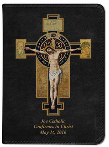 Personalized Catholic Bible with Benedictine Cross Cover - Black RSVCE