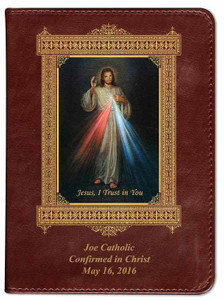 Personalized Catholic Bible with Divine Mercy Cover - Burgundy RSVCE