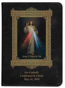 Personalized Catholic Bible with Divine Mercy Cover - Black RSVCE