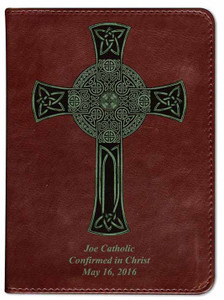 Personalized Catholic Bible with Celtic Cross Cover - Burgundy RSVCE