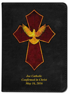 Personalized Catholic Bible with Holy Spirit Cross Cover - Black RSVCE
