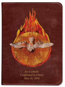 Personalized Catholic Bible with Holy Spirit Fire Cover - Burgundy RSVCE