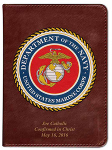 Personalized Catholic Bible with Marines Cover - Burgundy RSVCE