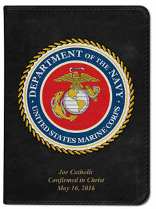 Personalized Catholic Bible with Marines Cover - Black NABRE