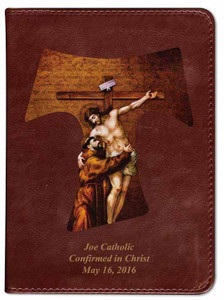 Personalized Catholic Bible with St. Francis Tau Cross Cover - Burgundy RSVCE