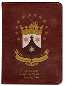 Personalized Catholic Bible with Discalced Carmelite Crest Cover - Burgundy RSVCE