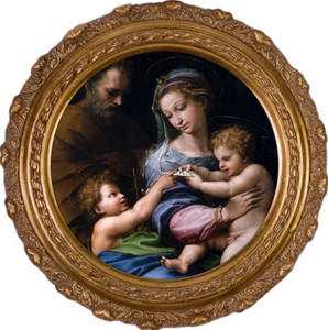 Madonna della Rosa Round Framed Canvas