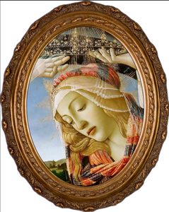 Madonna of the Magnificat (Detail) Canvas - Oval Framed Art