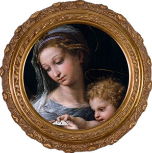 Madonna della Rosa (Detail) Round Framed Canvas