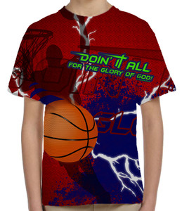 """Doing It All"" Basketball Graphic Children's Poly T-Shirt"