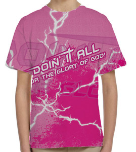 """Doing It All"" Pink Graphic Children's Poly T-Shirt"