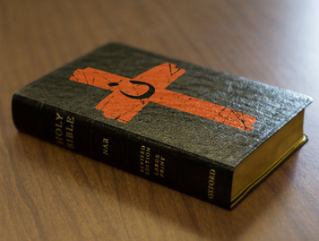 Personalized Catholic Bible with Orange Cross Cover - Black Genuine Leather NABRE