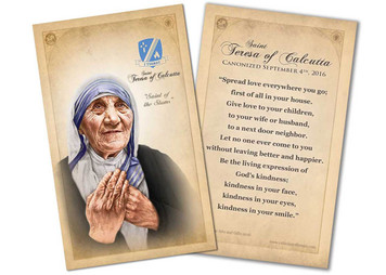 St. Teresa of Calcutta Commemorative Quote Holy Card