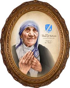 St. Teresa of Calcutta Commemorative Portrait Canvas - Oval Framed Art