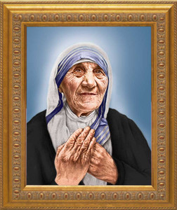 St. Teresa of Calcutta Canonization Portrait: Ornate Gold Frame
