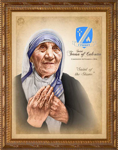 St. Teresa of Calcutta Commemorative Portrait - Simple Gold Framed Art