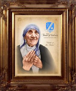 St. Teresa of Calcutta Commemorative Portrait Canvas - Gold Museum Frame