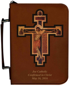 Personalized Bible Cover with Byzantine Crucifix Graphic - Tawny