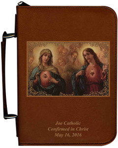 Personalized Bible Cover with Sacred & Immaculate Hearts Graphic - Tawny