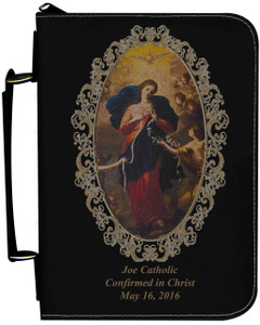 Personalized Bible Cover with Mary Undoer of Knots Graphic - Black