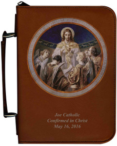 Personalized Bible Cover with Bread of Angels Graphic - Tawny