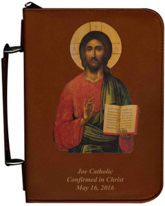 Personalized Bible Cover with Christ Pantocrator Icon Graphic - Tawny