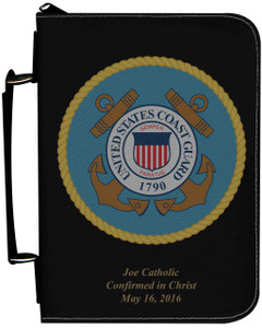 Personalized Bible Cover with Coast Guard Graphic - Black