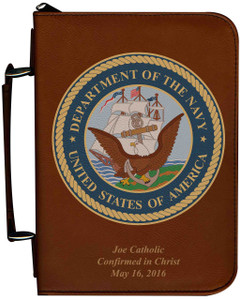 Personalized Bible Cover with Navy Graphic - Tawny