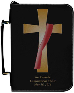 Personalized Bible Cover with Deacon's Cross Graphic - Black