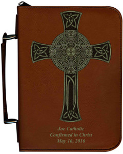 Personalized Bible Cover with Celtic Cross Graphic - Tawny