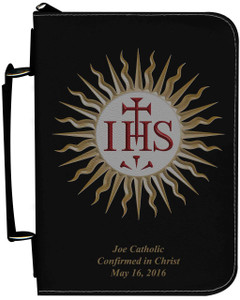 Personalized Bible Cover with Jesuit IHS Graphic - Black