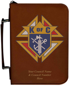 Personalized Bible Cover with Knights of Columbus Graphic - Tawny