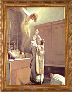 The Holy Sacrifice of the Mass - Gold Framed Art