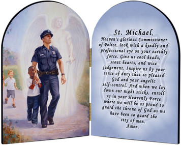 The Protector: Police Guardian Angel Arched Diptych with Prayer to St. Michael