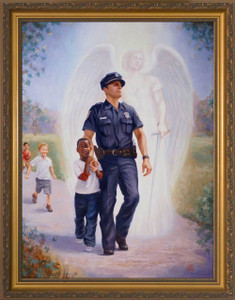 The Protector: Police Guardian Angel - Gold Framed Art