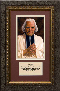 St. John Vianney by Jason Jenicke Matted with Prayer - Ornate Dark Framed Art