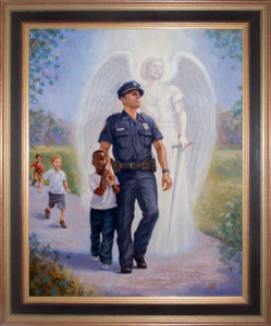 The Protector: Police Guardian Angel Framed Canvas