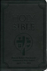 Laser Embossed Catholic Bible with Deacon Cover - Black NABRE