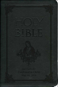 Laser Embossed Catholic Bible with Our Lady of Guadalupe Cover - Black NABRE