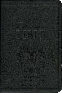 Laser Embossed Catholic Bible with Airforce Cover - Black NABRE